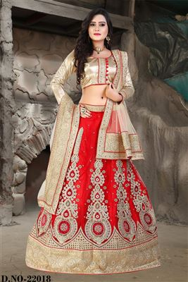 image of Pink Color Wedding Wear Lycra Embroidered Lehenga Choli