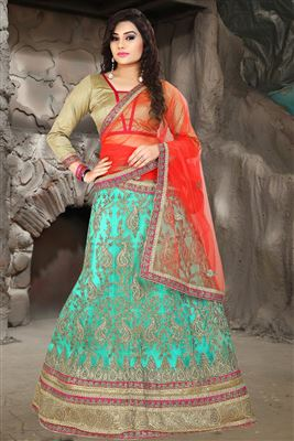 image of Orange Color Wedding Wear Embroidered Silk Fabric Designer Lehenga Choli