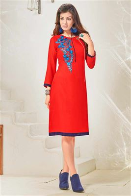 image of Trendy Cream Color Party Wear Cotton Fabric Kurti