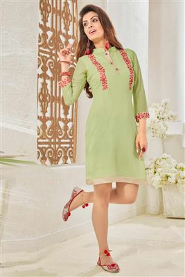 image of Party Wear Beige And Brown Color Digital Print Kurti In Georgette Fabric