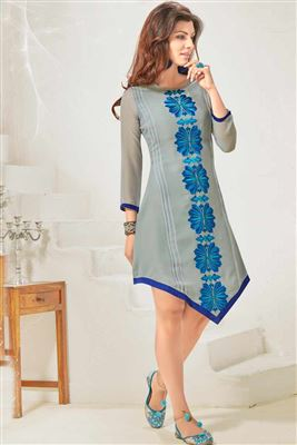 image of Georgette Fabric Embroidered Kurti in Pink Color