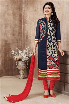 image of Designer Party Wear Georgette Salwar Kameez in Cream Color Featuring Ayesha Takia