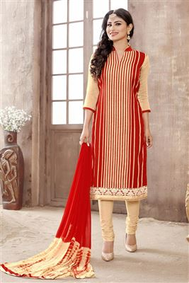 image of Red Color Georgette Fabric Salwar Kameez Featuring Shilpa Shetty