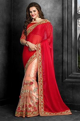 image of Orange Designer Net-Georgette Saree with Blouse