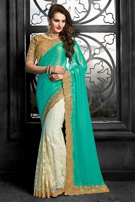 image of Soothing Crepe Designer Party Wear Saree