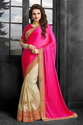 image of Classical Art Silk Fabric South Indian Style Party Wear Saree In Red Color