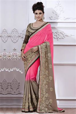 image of Festive Wear Embroidered Georgette Saree in Black Color