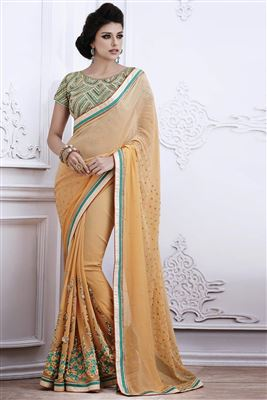 image of Sky Blue Georgette-Net Festive Wear Designer Saree
