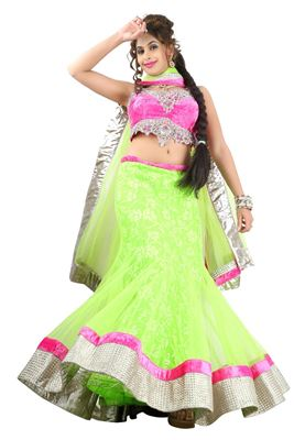image of Elating Red Color Net-Satin Party Wear Chaniya Choli