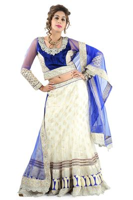 image of Beige Sharara Top Designer Lehenga Choli-1007