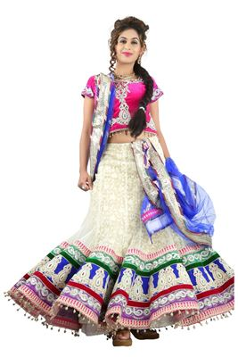 image of White Color Embroidered Chaniya Choli