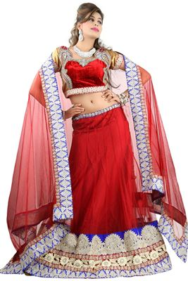 image of Intriguing Magenta Color Embroidered Net Lehenga