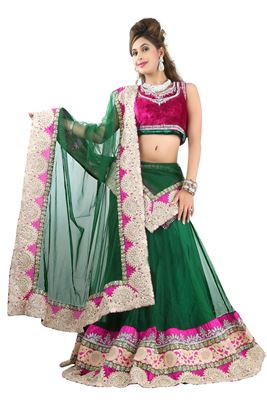 image of Wedding Bridal Embroidered Net Lehenga Choli in Orange Color