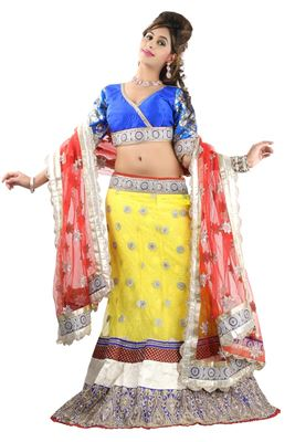 image of Cream Silk Designer Lehenga Choli-2116