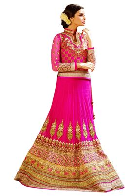 image of Wedding Wear Embroidered Net Lehenga Choli in Red Color