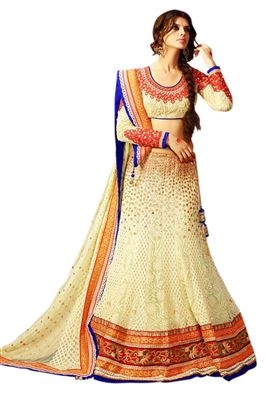 image of Green-Orange Occasional Wear Designer Lehenga Chol
