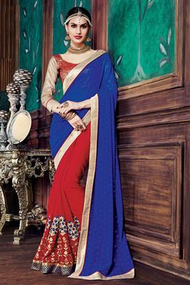image of Magnetic Jacquard-Georgette Party Wear Printed Sar