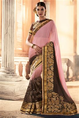 image of Cream Color Likable Georgette Printed Saree