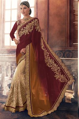 image of Peach Color Net-Lycra Designer Party Wear Saree