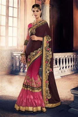 image of Attractive Red-Peach Party Wear Saree