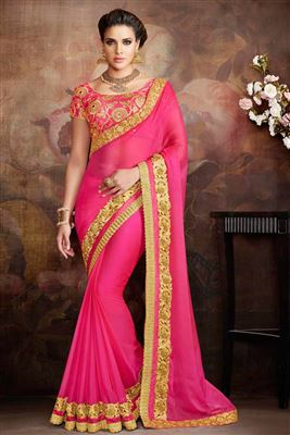 image of Designer Party Wear Pink Color Embroidered Saree In Chiffon Fabric