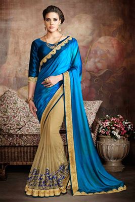image of Silk And Georgette Fabric Designer Saree In Blue And Cream Color With Embroidery