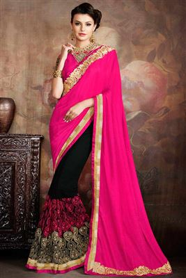 image of Embroidered Designer Silk And Georgette Fabric Saree In Pink And Black Color