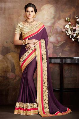 image of Designer Beige Embroidered Chiffon Saree-13939