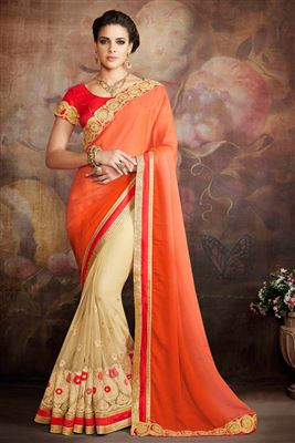 image of Cream And Orange Color Embroidered Saree In Georgette Fabric