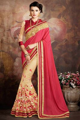image of Pink And Cream Color Party Wear Designer Net And Georgette Fabric Saree
