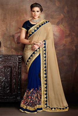 image of Designer Blue And Cream Color Embroidered Saree In Georgette Fabric