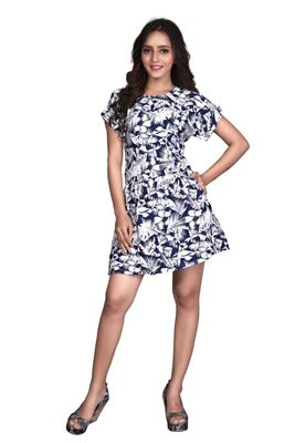 image of Ladies Wear Printed Party Wear Georgette Kurti in White-Black Color