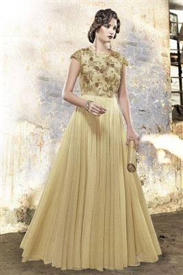 image of Indo-Western Style Evening Party Wear Net Gown in Beige Color