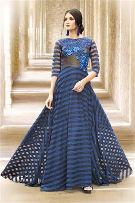 image of Blue-Black Color Evening Party Wear Satin-Net Fabric Designer Gown