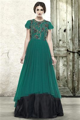 image of Teal-Black Color Evening Party Wear Designer Net Gown