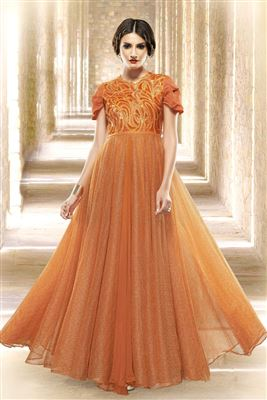 image of Orange Color Indo-Western Evening Wear Designer Gown in Net Fabric