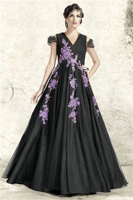 image of Evening Party Wear Net Fabric Designer Gown in Black Color