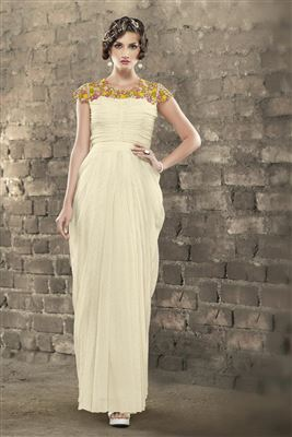image of Off White Color Evening Wear Indo-Western Style Jacquard Gown