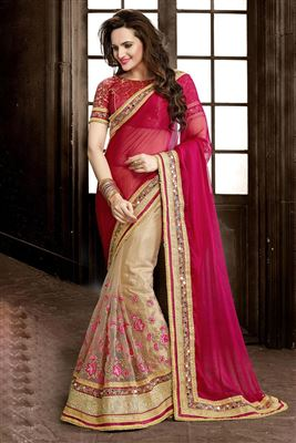 image of Grey-Pink Designer Brasso-Chiffon Sari With Blouse