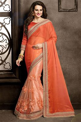 image of Beige-Red Net-Georgette Designer Half-Half Saree