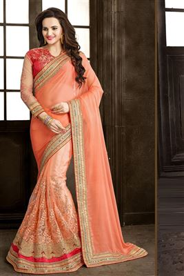image of Cream-Cyan Georgette Fancy Print Casual Saree