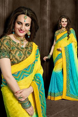 image of Party Wear Designer Georgette Saree in Yellow Color
