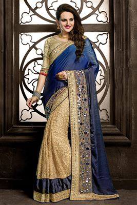 image of Wonderful Georgette Designer Saree In Orange And Blue Color