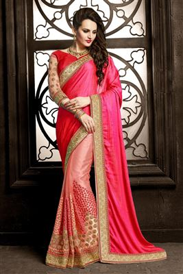 image of Magenta Art Silk Banarasi Style Party Saree