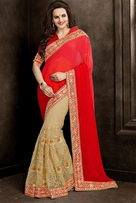 image of Designer Beige And Pink Color Embroidered Saree In Chiffon And Lycra Fabric