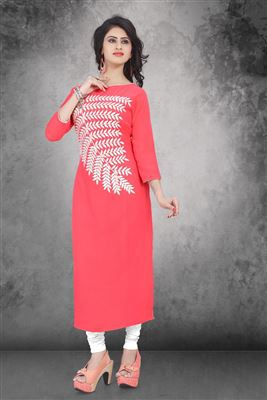 image of Party Wear Designer Georgette Kurti in Cream Color