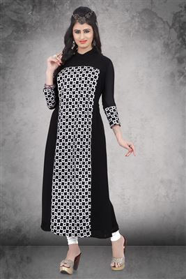 image of Black Dhoti Style Georgette Embroidery Kurti-1011