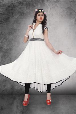 image of Party Wear Georgette Kurti in Grey Color with Embroidery