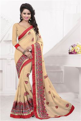 image of Grey Printed Party Wear Georgette Saree