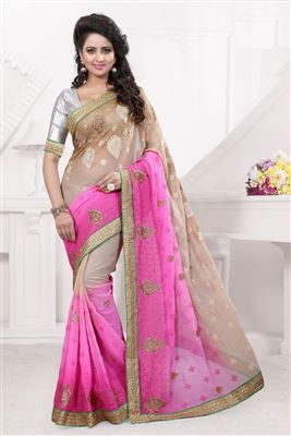 image of Cream And Pink Color Charismatic Saree